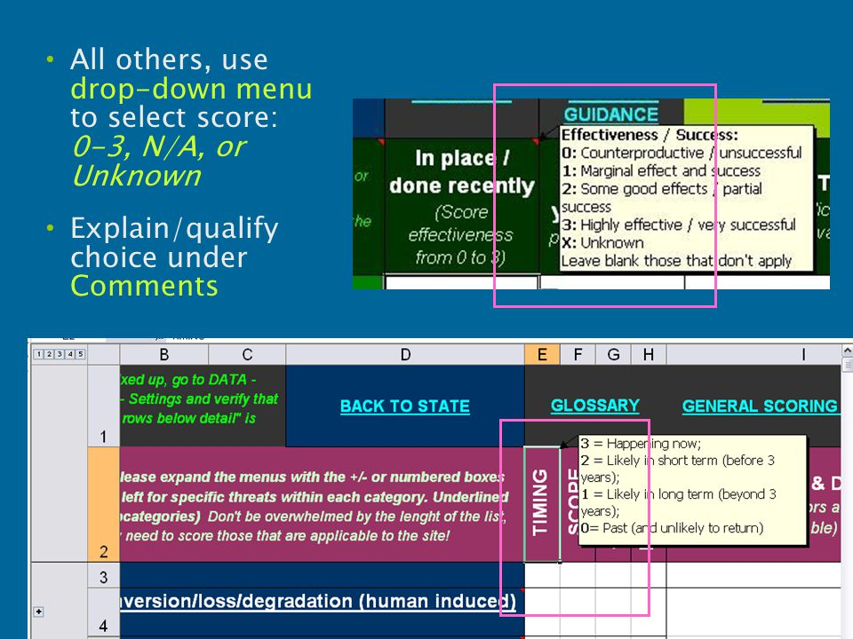 All others, use drop-down menu to select score: 0-3, N/A, or Unknown Explain/qualify choice under Comments