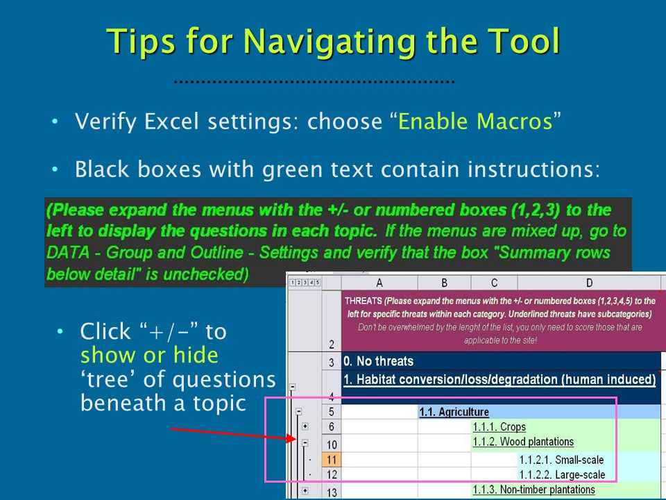 "Tips for Navigating the Tool Verify Excel settings: choose ""Enable Macros"" Black boxes with green text contain instructions: Click ""+/-"" to show or hi"