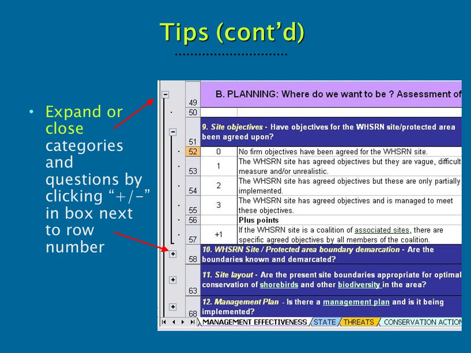 "Tips (cont'd) Expand or close categories and questions by clicking ""+/-"" in box next to row number"