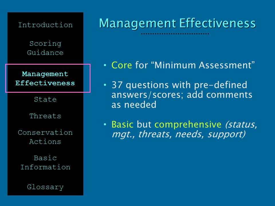 Management Effectiveness Introduction Scoring Guidance Management Effectiveness State Threats Conservation Actions Basic Information Glossary Core for