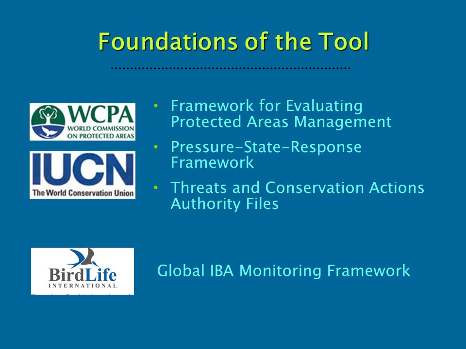 Foundations of the Tool Global IBA Monitoring Framework Framework for Evaluating Protected Areas Management Pressure-State-Response Framework Threats