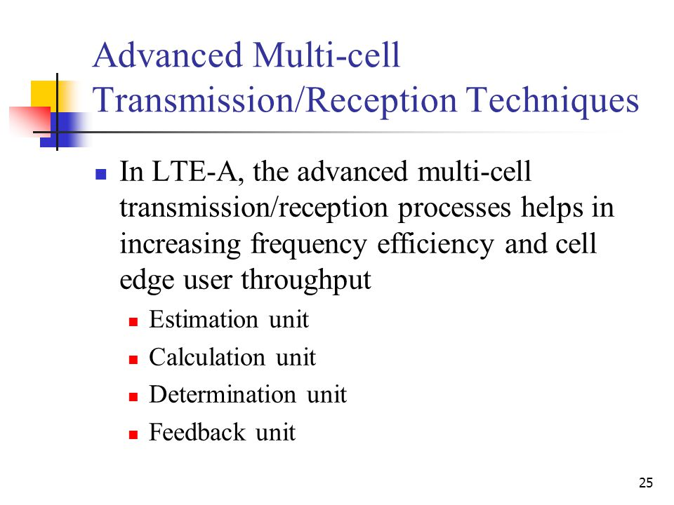 25 Advanced Multi-cell Transmission/Reception Techniques In LTE-A, the advanced multi-cell transmission/reception processes helps in increasing frequency efficiency and cell edge user throughput Estimation unit Calculation unit Determination unit Feedback unit