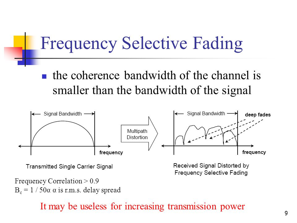 9 Frequency Selective Fading the coherence bandwidth of the channel is smaller than the bandwidth of the signal It may be useless for increasing transmission power Frequency Correlation > 0.9 B c = 1 / 50α α is r.m.s.