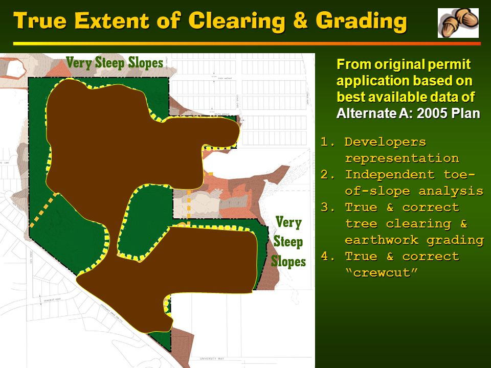 True Extent of Clearing & Grading Very Steep Slopes From original permit application based on best available data of Alternate A: 2005 Plan 1.Developers representation 2.Independent toe- of-slope analysis 3.True & correct tree clearing & earthwork grading 4.True & correct crewcut