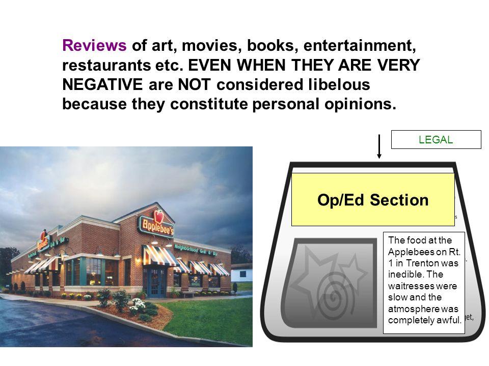 Reviews of art, movies, books, entertainment, restaurants etc.