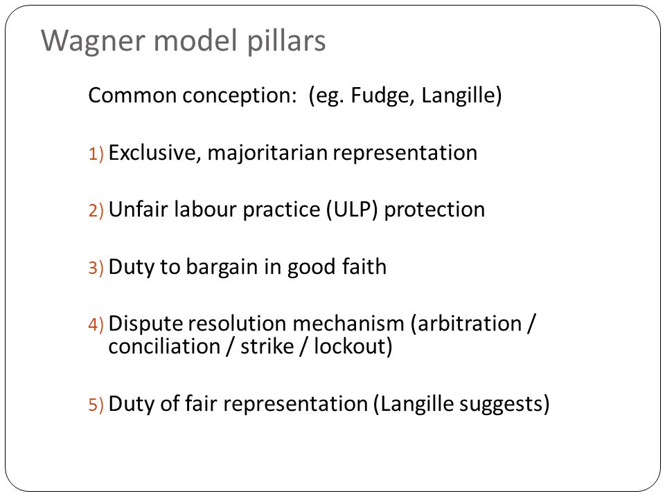 Wagner model pillars Common conception: (eg.