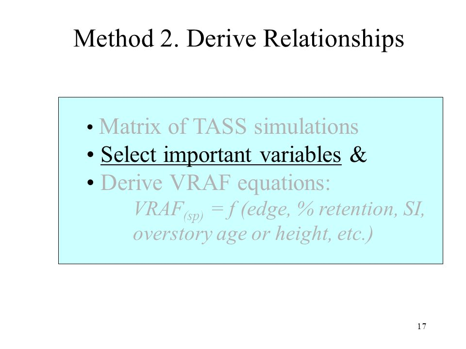 17 Matrix of TASS simulations Select important variables & Derive VRAF equations: VRAF (sp) = f (edge, % retention, SI, overstory age or height, etc.)