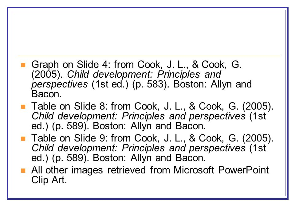 Graph on Slide 4: from Cook, J. L., & Cook, G. (2005). Child development: Principles and perspectives (1st ed.) (p. 583). Boston: Allyn and Bacon. Tab