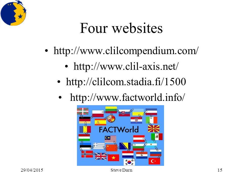 29/04/2015Steve Darn15 Four websites http://www.clilcompendium.com/ http://www.clil-axis.net/ http://clilcom.stadia.fi/1500 http://www.factworld.info/