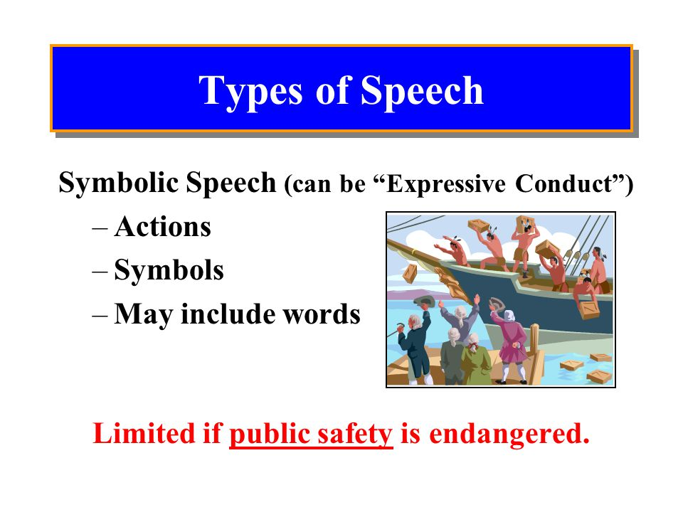 Types of Speech Pure Speech can be Calm Passionate Private Public Supreme Court has provided the strongest protection.