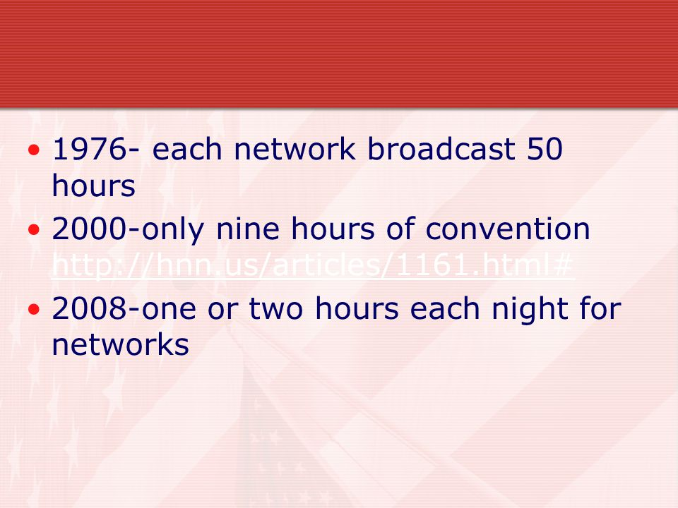1976- each network broadcast 50 hours 2000-only nine hours of convention http://hnn.us/articles/1161.html# http://hnn.us/articles/1161.html# 2008-one or two hours each night for networks