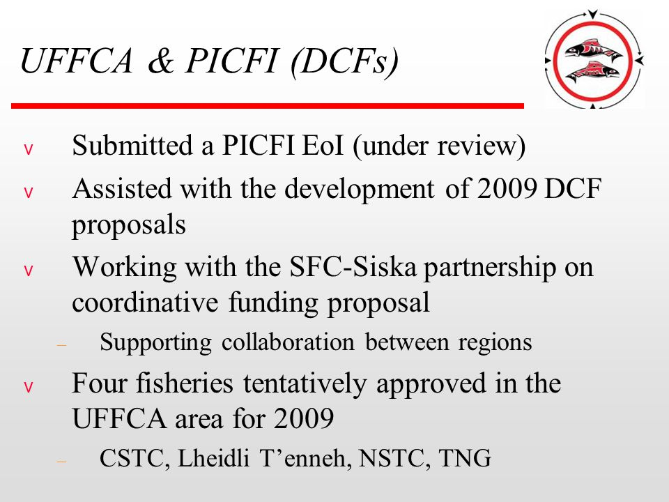 UFFCA & PICFI (DCFs) v Submitted a PICFI EoI (under review) v Assisted with the development of 2009 DCF proposals v Working with the SFC-Siska partner