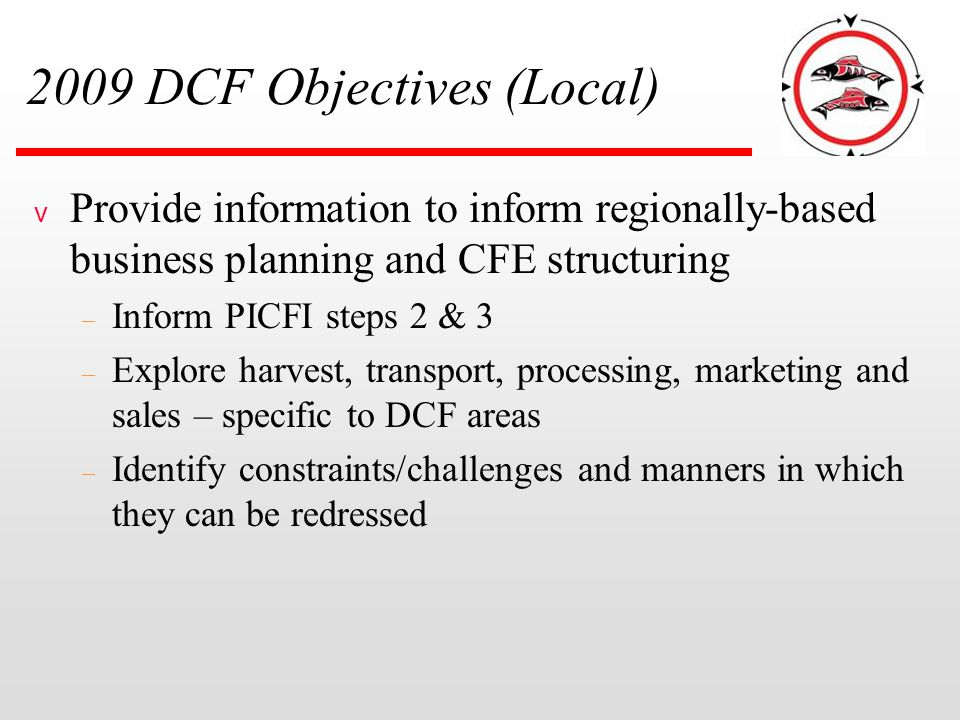 2009 DCF Objectives (Local) v Provide information to inform regionally-based business planning and CFE structuring – Inform PICFI steps 2 & 3 – Explor
