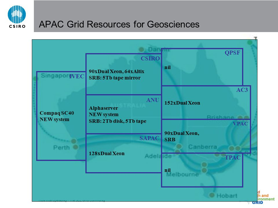 How Interoperability? The SEE Grid Community APAC Grid Resources for Geosciences Compaq SC40 NEW system IVEC nil QPSF 128xDual Xeon SAPAC Alphaserver
