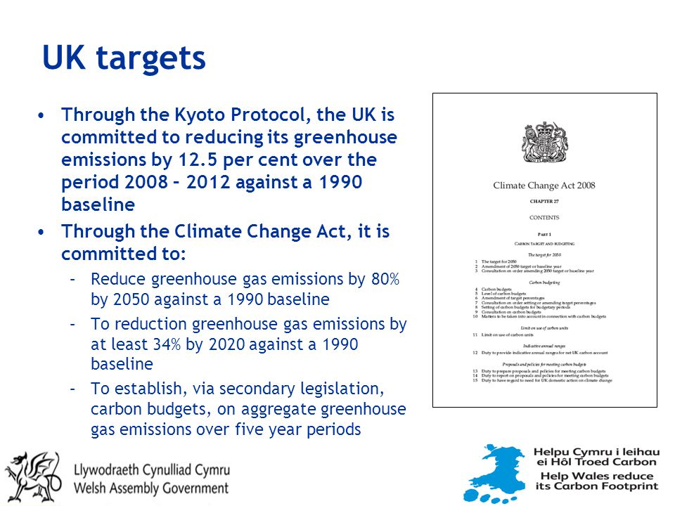 UK targets Through the Kyoto Protocol, the UK is committed to reducing its greenhouse emissions by 12.5 per cent over the period 2008 – 2012 against a 1990 baseline Through the Climate Change Act, it is committed to: –Reduce greenhouse gas emissions by 80% by 2050 against a 1990 baseline –To reduction greenhouse gas emissions by at least 34% by 2020 against a 1990 baseline –To establish, via secondary legislation, carbon budgets, on aggregate greenhouse gas emissions over five year periods