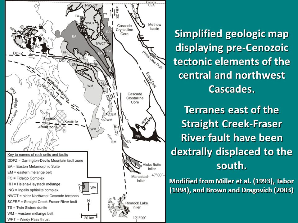 Simplified geologic map displaying pre-Cenozoic tectonic elements of the central and northwest Cascades palinspasticly restored for dextral movement along the Straight Creek-Fraser River fault zone.