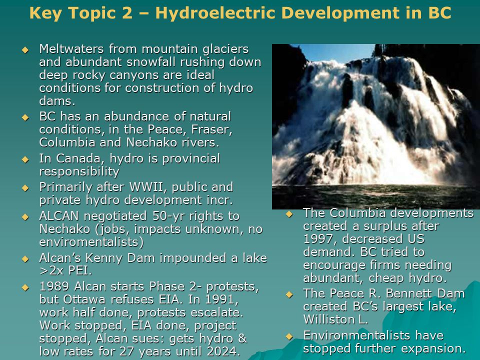  Meltwaters from mountain glaciers and abundant snowfall rushing down deep rocky canyons are ideal conditions for construction of hydro dams.