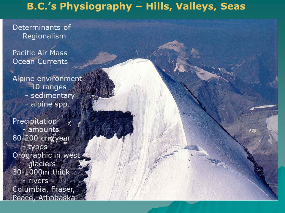 B.C.'s Physiography – Hills, Valleys, Seas Determinants of Regionalism Pacific Air Mass Ocean Currents Alpine environment - 10 ranges - sedimentary -