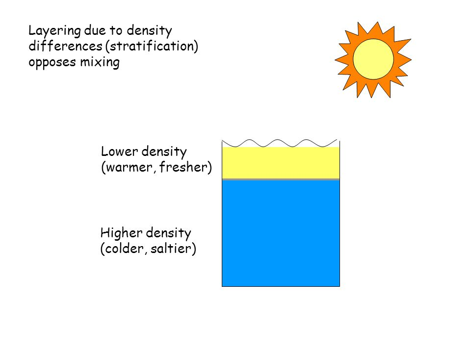 Lower density (warmer, fresher) Layering due to density differences (stratification) opposes mixing Higher density (colder, saltier)
