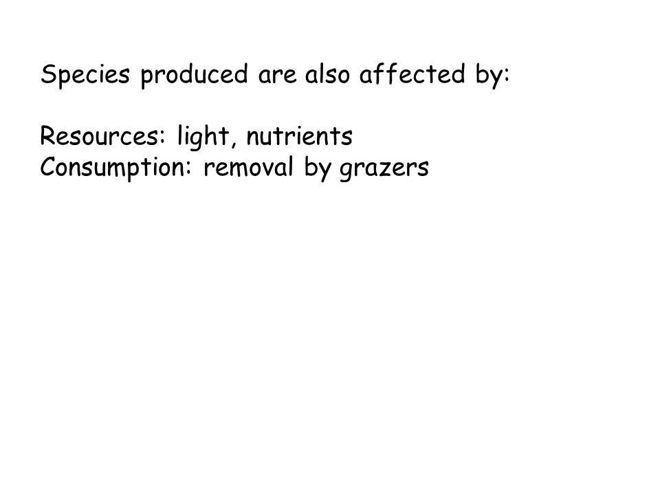 Species produced are also affected by: Resources: light, nutrients Consumption: removal by grazers