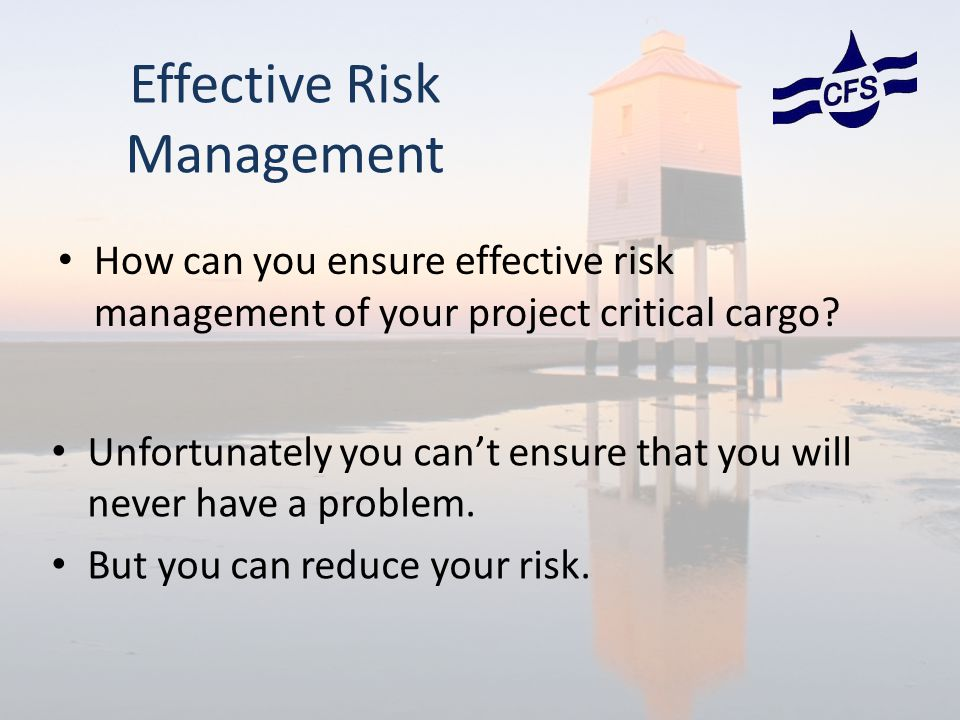 How can you ensure effective risk management of your project critical cargo.