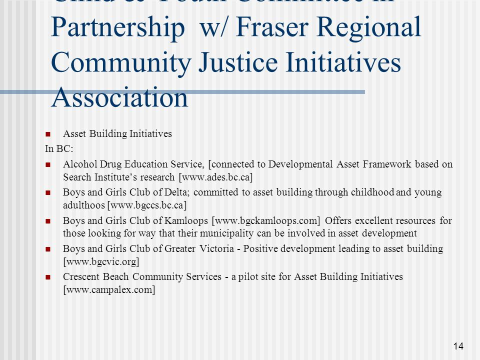 14 South Fraser Valley Regional Child & Youth Committee in Partnership w/ Fraser Regional Community Justice Initiatives Association Asset Building Initiatives In BC: Alcohol Drug Education Service, [connected to Developmental Asset Framework based on Search Institute's research [www.ades.bc.ca] Boys and Girls Club of Delta; committed to asset building through childhood and young adulthoos [www.bgccs.bc.ca] Boys and Girls Club of Kamloops [www.bgckamloops.com] Offers excellent resources for those looking for way that their municipality can be involved in asset development Boys and Girls Club of Greater Victoria - Positive development leading to asset building [www.bgcvic.org] Crescent Beach Community Services - a pilot site for Asset Building Initiatives [www.campalex.com]