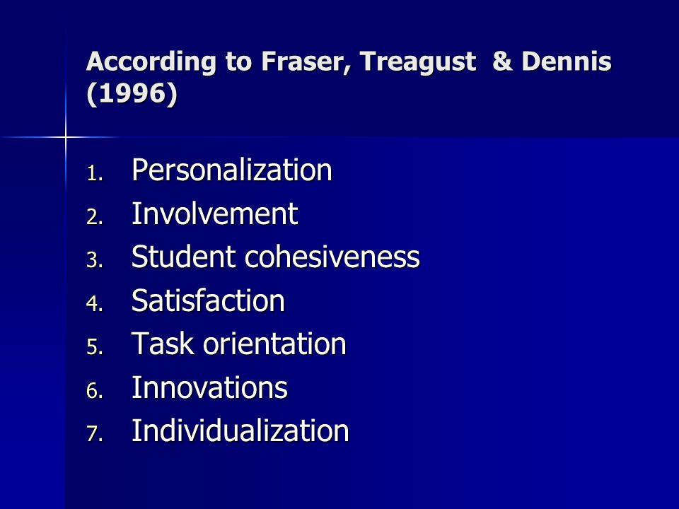 1. Personalization 2. Involvement 3. Student cohesiveness 4.