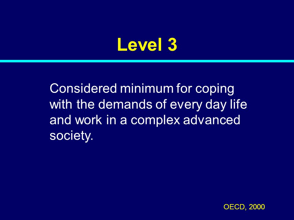 Level 3 Considered minimum for coping with the demands of every day life and work in a complex advanced society. OECD, 2000 06-106