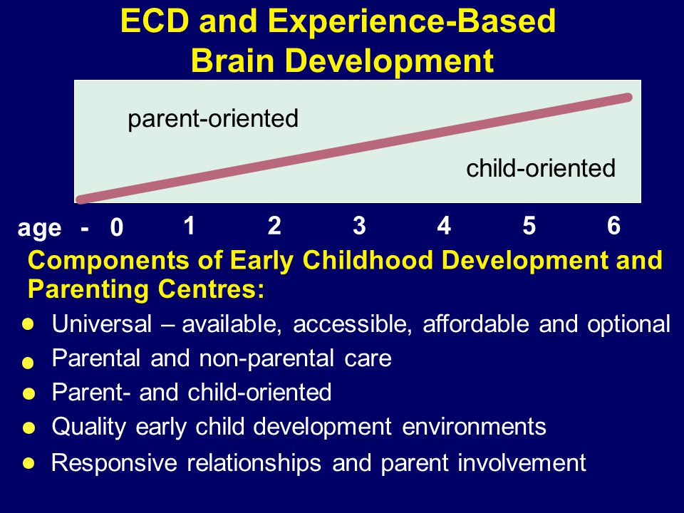 99-004 - 0 123456 parent-oriented child-oriented ECD and Experience-Based Brain Development age Components of Early Childhood Development and Parentin