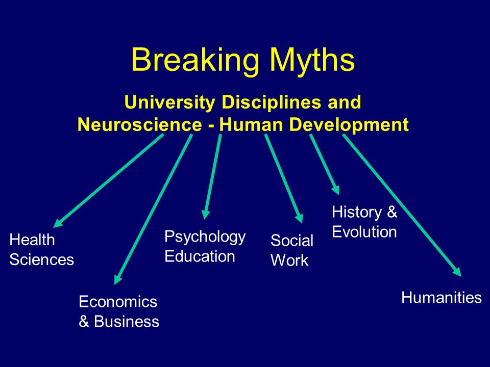 Breaking Myths University Disciplines and Neuroscience - Human Development Health Sciences Economics & Business Psychology Education Social Work History & Evolution Humanities