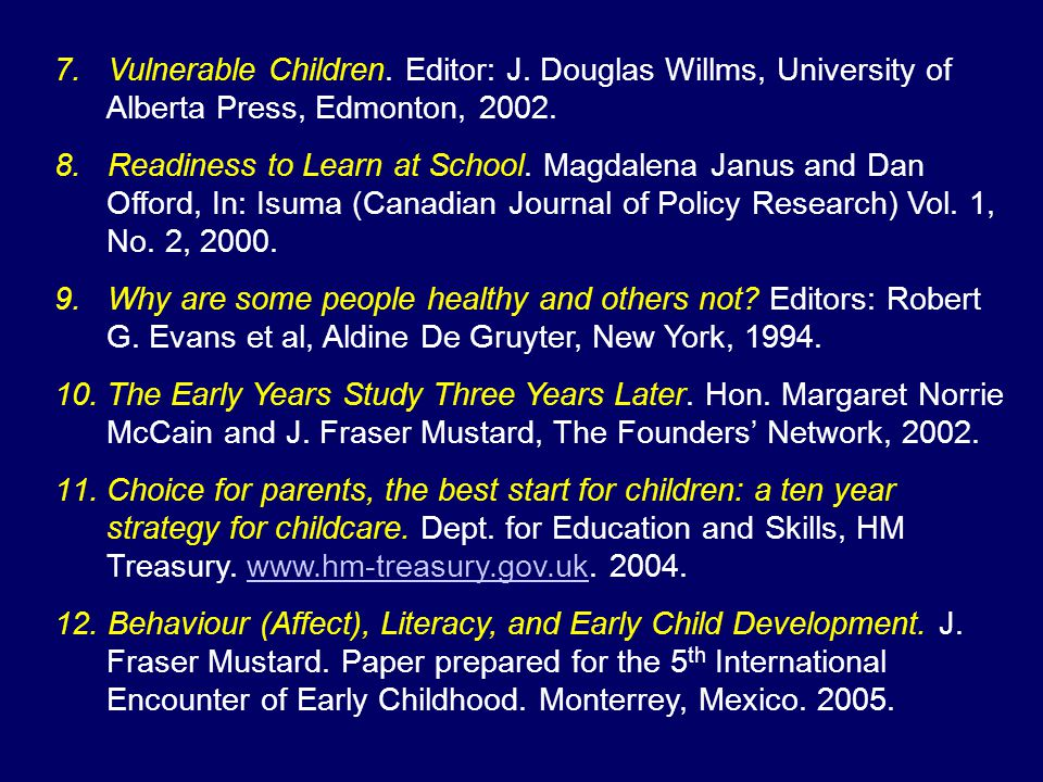 7. Vulnerable Children. Editor: J. Douglas Willms, University of Alberta Press, Edmonton, 2002. 8. Readiness to Learn at School. Magdalena Janus and D