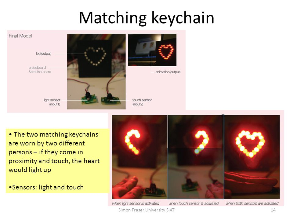 Matching keychain Simon Fraser University SIAT14 The two matching keychains are worn by two different persons – if they come in proximity and touch, the heart would light up Sensors: light and touch