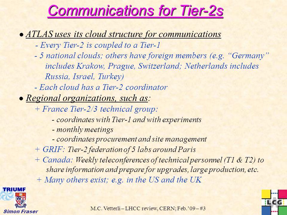 M.C. Vetterli – LHCC review, CERN; Feb.'09 – #3 Simon Fraser Communications for Tier-2s ATLAS uses its cloud structure for communications - Every Tier