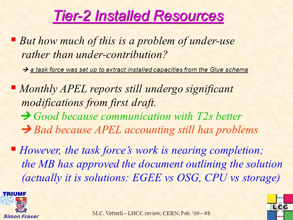 M.C. Vetterli – LHCC review, CERN; Feb.'09 – #8 Simon Fraser  But how much of this is a problem of under-use rather than under-contribution?  a task