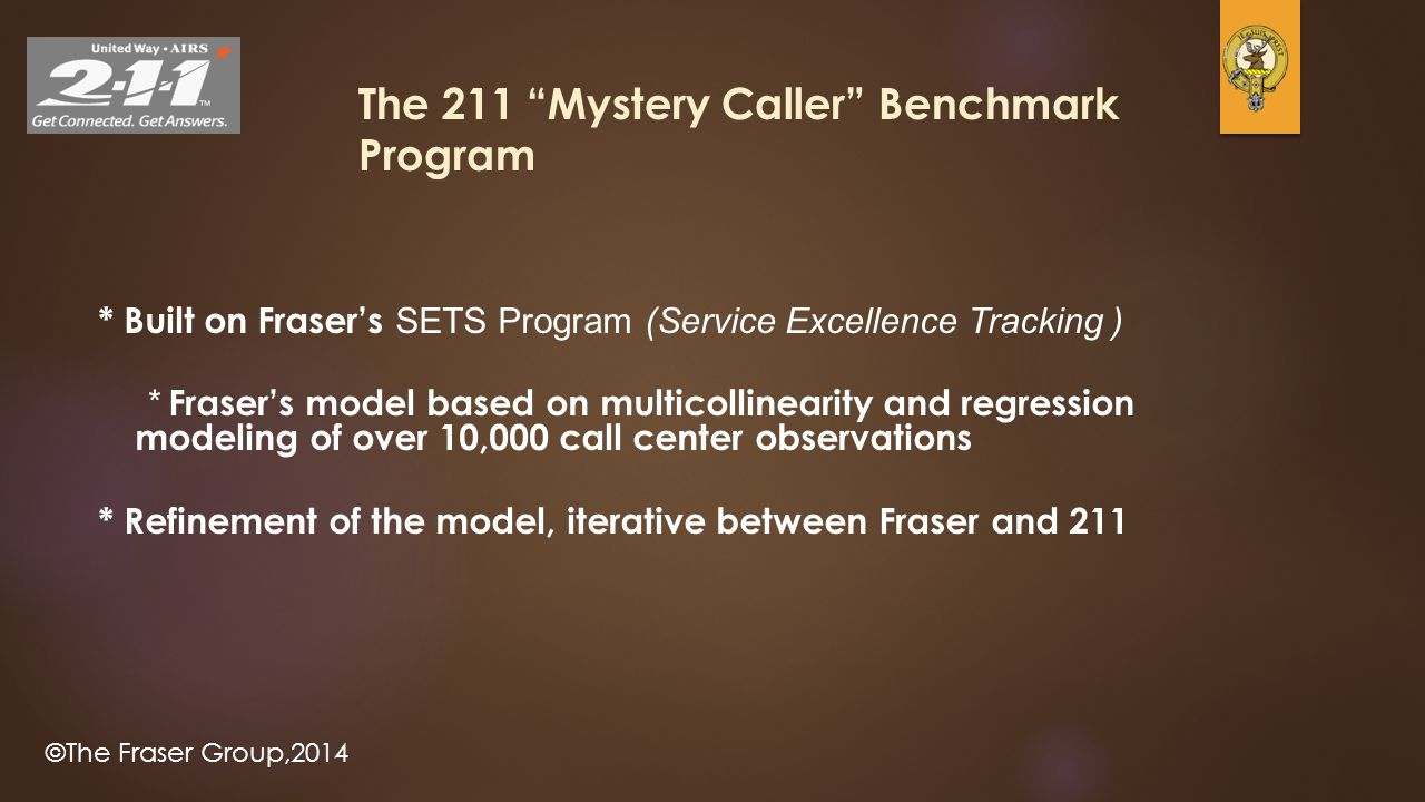 ©The Fraser Group,2014 18 The 211 Mystery Caller Benchmark Program * Built on Fraser's SETS Program (Service Excellence Tracking ) * Fraser's model based on multicollinearity and regression modeling of over 10,000 call center observations * Refinement of the model, iterative between Fraser and 211