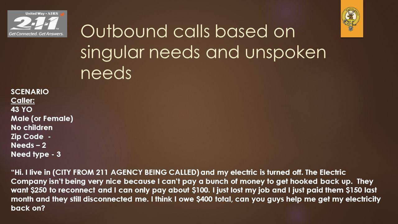 Outbound calls based on singular needs and unspoken needs SCENARIO Caller: 43 YO Male (or Female) No children Zip Code - Needs – 2 Need type - 3 Hi.