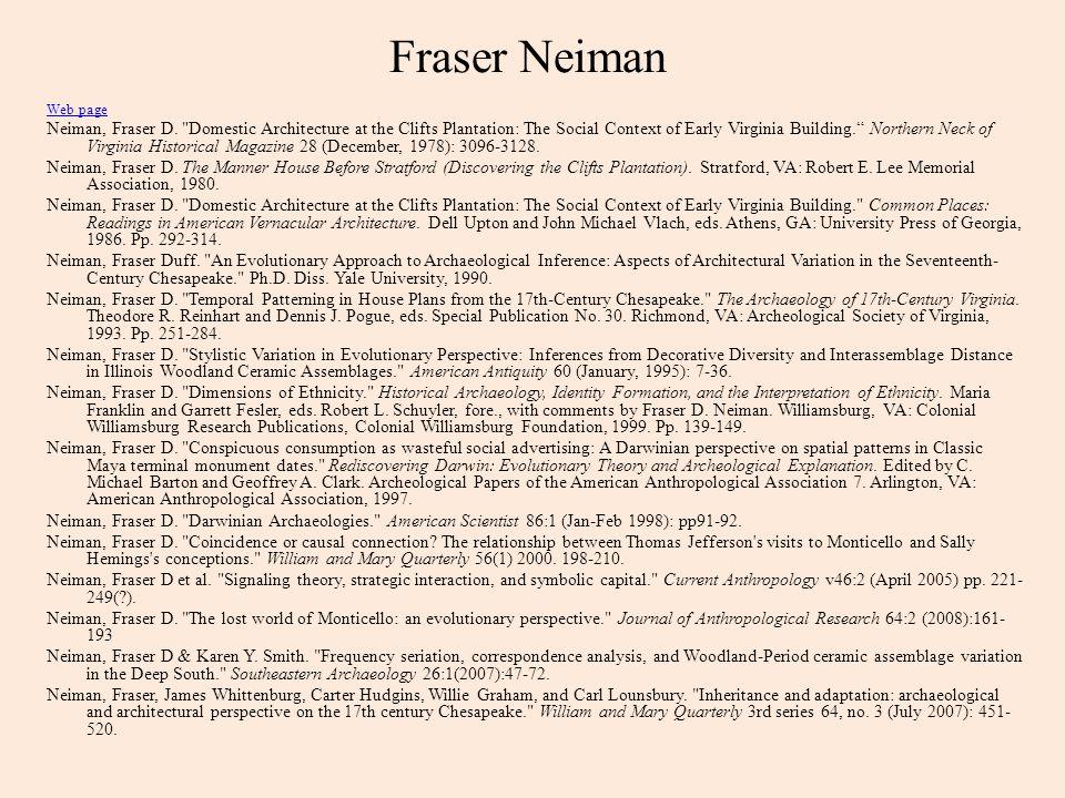 Fraser Neiman Web page Neiman, Fraser D.