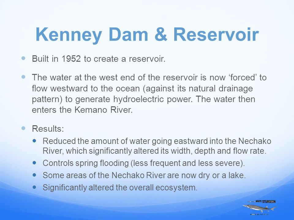 Kenney Dam & Reservoir Built in 1952 to create a reservoir. The water at the west end of the reservoir is now 'forced' to flow westward to the ocean (