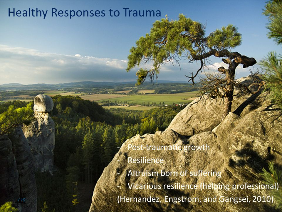 / 10 Healthy Responses to Trauma -Post-traumatic growth -Resilience -Altruism born of suffering -Vicarious resilience (helping professional) (Hernandez, Engstrom, and Gangsei, 2010)