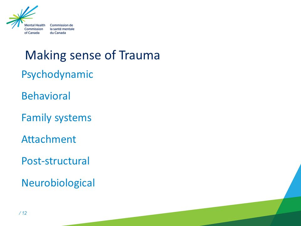 / 12 Making sense of Trauma Psychodynamic Behavioral Family systems Attachment Post-structural Neurobiological