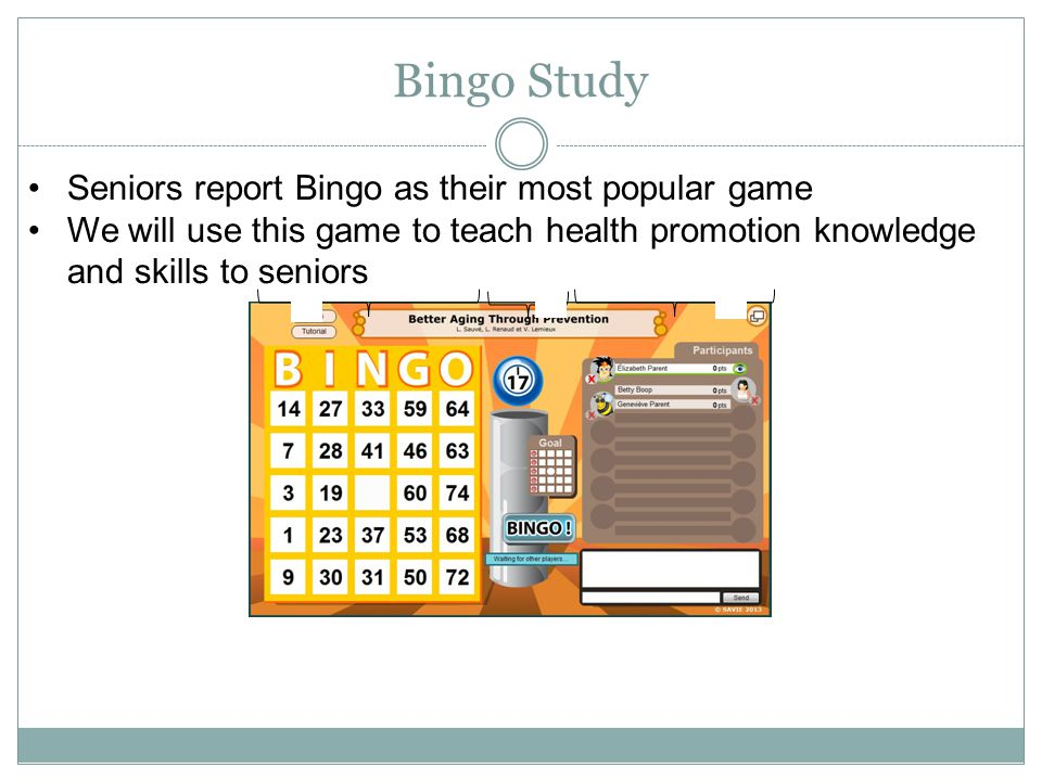 Bingo Study Seniors report Bingo as their most popular game We will use this game to teach health promotion knowledge and skills to seniors ABC ABC