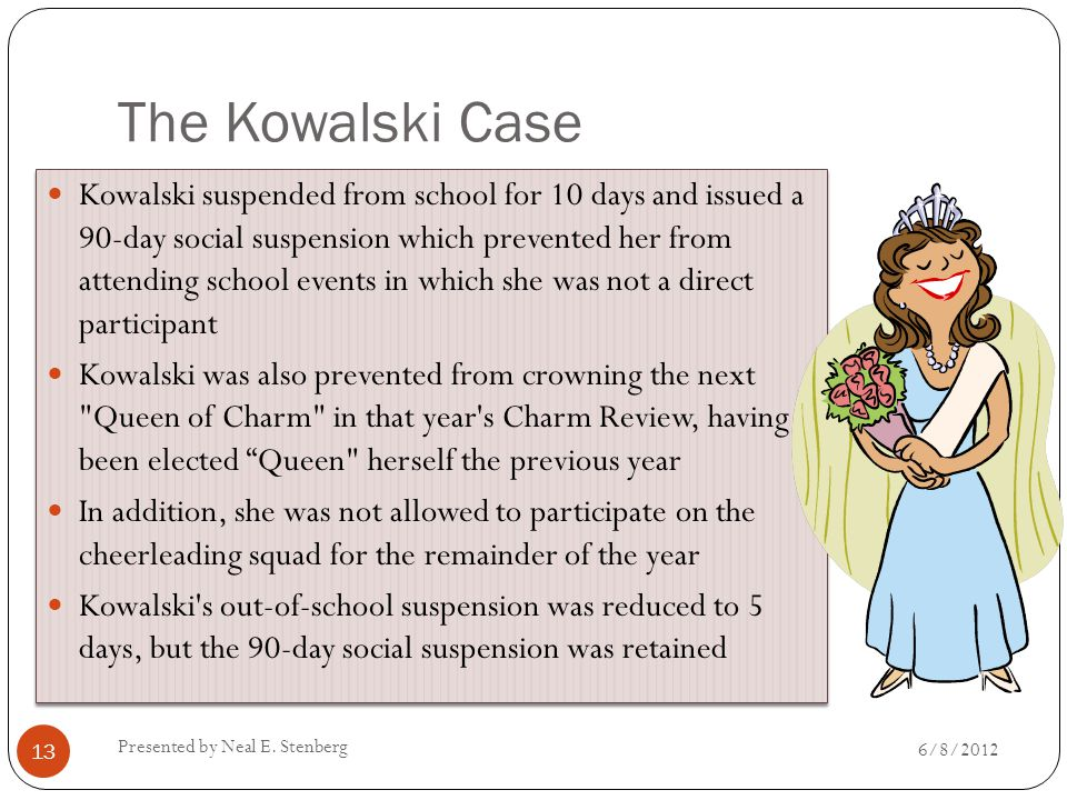 The Kowalski Case Kowalski suspended from school for 10 days and issued a 90-day social suspension which prevented her from attending school events in