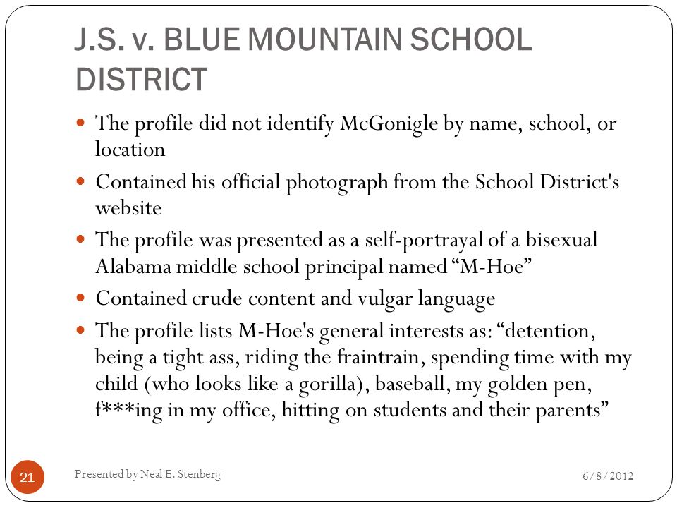 J.S. v. BLUE MOUNTAIN SCHOOL DISTRICT The profile did not identify McGonigle by name, school, or location Contained his official photograph from the S