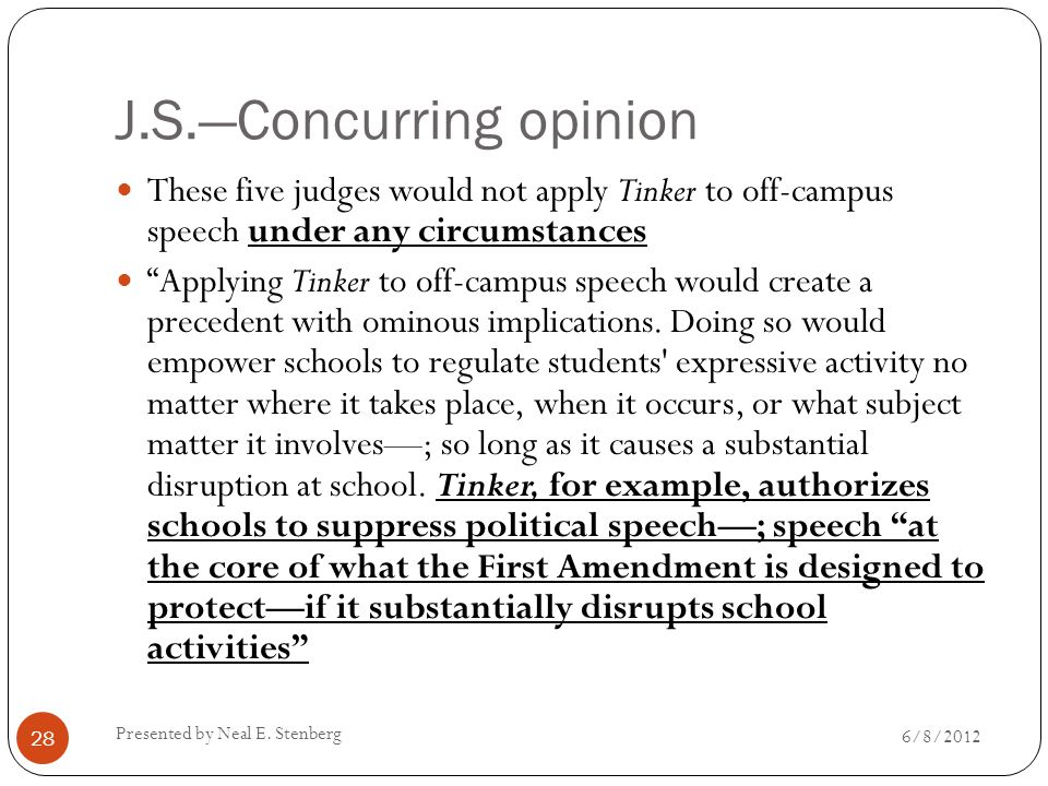 "J.S.—Concurring opinion These five judges would not apply Tinker to off-campus speech under any circumstances ""Applying Tinker to off-campus speech wo"