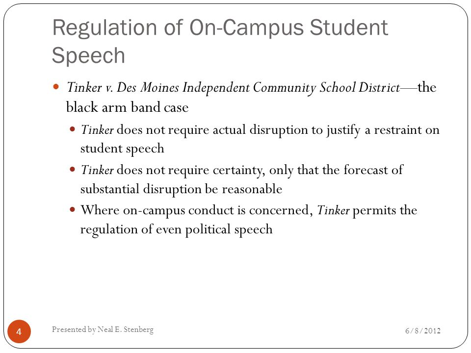 Regulation of On-Campus Student Speech Tinker v. Des Moines Independent Community School District—the black arm band case Tinker does not require actu