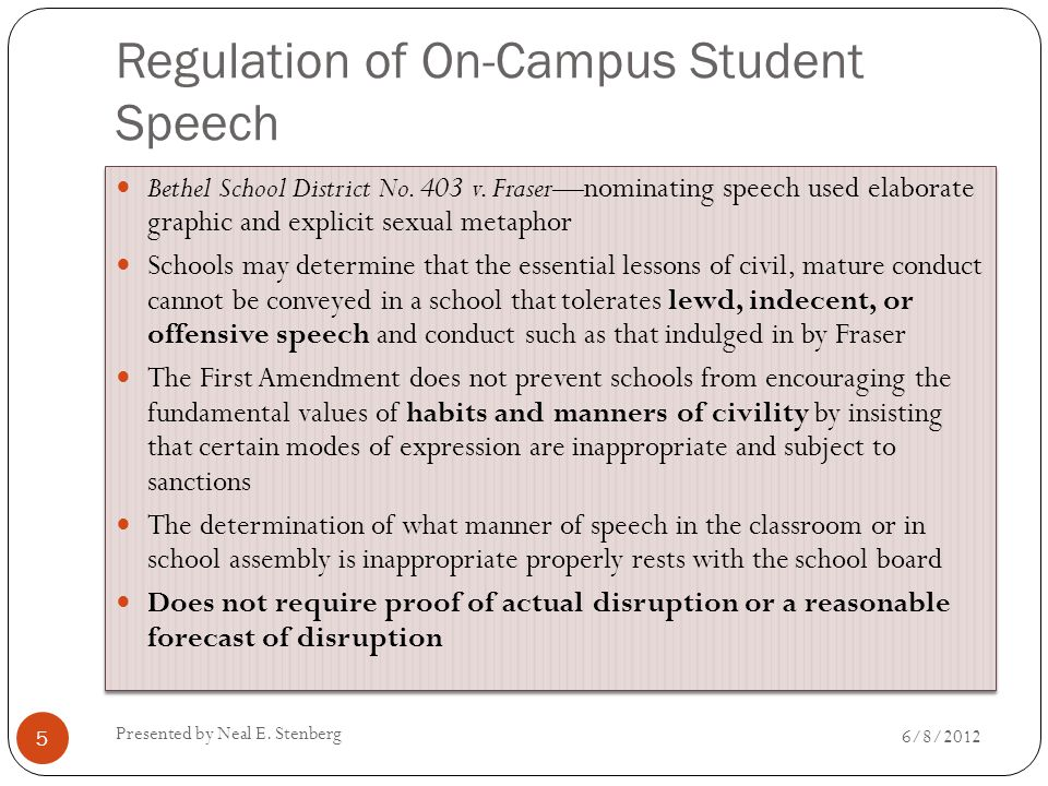 Regulation of On-Campus Student Speech Bethel School District No. 403 v. Fraser—nominating speech used elaborate graphic and explicit sexual metaphor