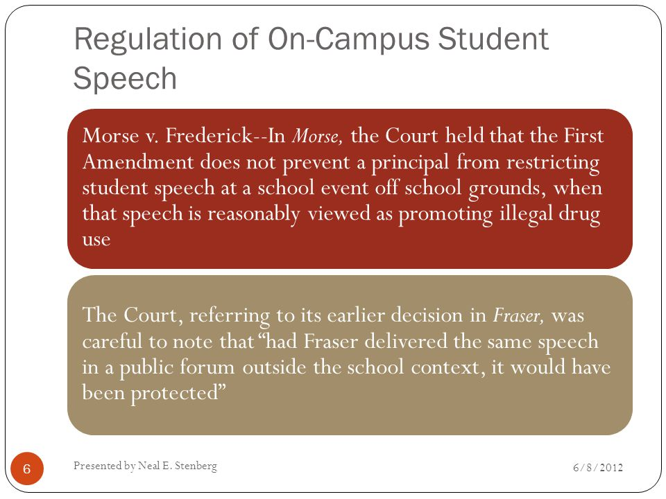Regulation of On-Campus Student Speech Morse v. Frederick--In Morse, the Court held that the First Amendment does not prevent a principal from restric