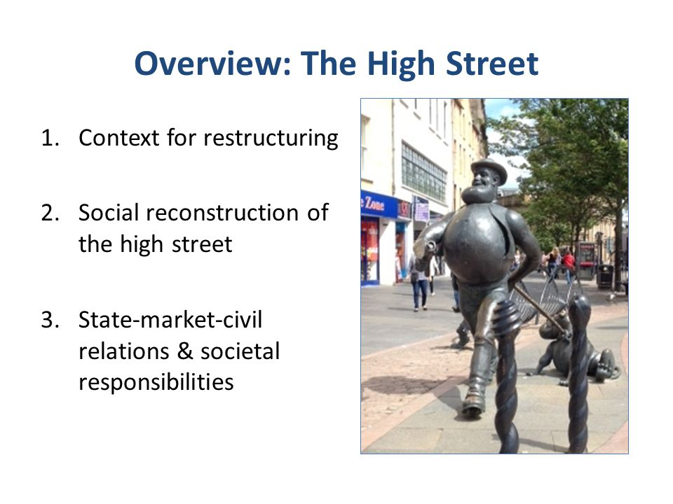 Overview: The High Street 1.Context for restructuring 2.Social reconstruction of the high street 3.State-market-civil relations & societal responsibil