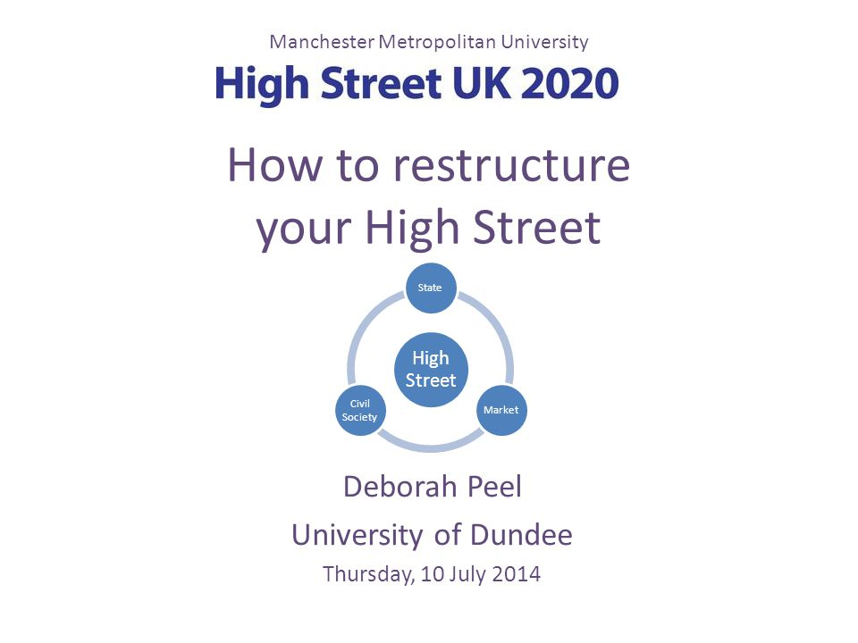 How to restructure your High Street Deborah Peel University of Dundee Thursday, 10 July 2014 Manchester Metropolitan University High Street StateMarke