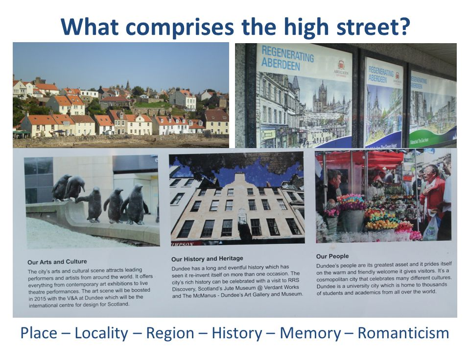 What comprises the high street? Place – Locality – Region – History – Memory – Romanticism